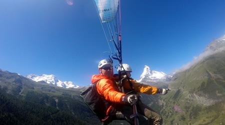 Paragliding tandem flights Zermatt